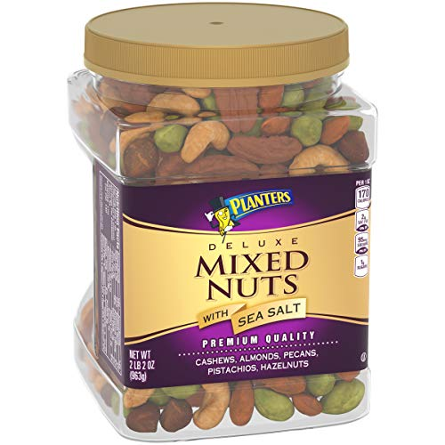 Planters Deluxe Mixed Nuts with Sea Salt 34 oz Canister