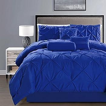 Amazon Com 5 Piece Solid Royal Blue Pinch Pleat Duvet