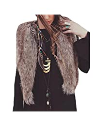 Lowpricenice(TM) Women's Fashion Vest Sleeveless Faux fur Coat Outerwear Long Hair Jacket Waistcoat