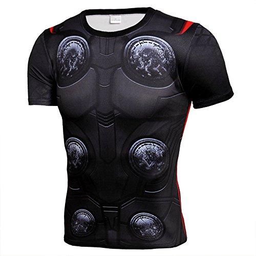 Mens Dri-Fit Compression Sport Shirt,Super Heros Thor Workouts Running Tee XL