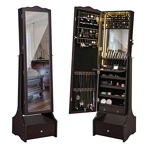 (SONGMICS 39.4'' LED Light Strip Jewelry Cabinet Armoire, Lockable Full Length Mirrored Jewelry Organizer, Makeup Tray and Large Drawer Base UJJC87BRV1)