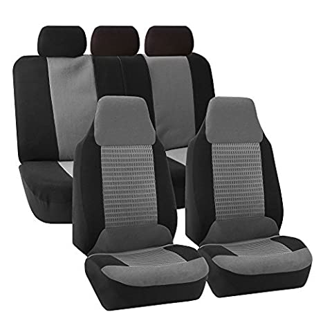 FH GROUP FH-FB107115 Trendy Corduroy Car Seat Covers, Airbag compatible and Split Bench, Gray / Black color-Fit Most Car, Truck, Suv, or (Forros Para Mp4)