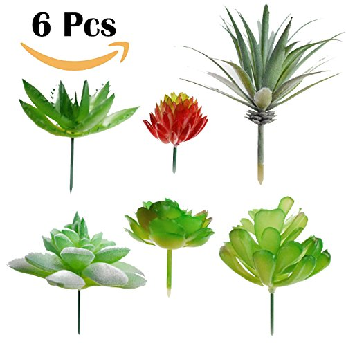 Assorted Fake Succulent Plants 6 Pack – Realistic Looking Artificial Succulent Plants Unpotted for DIY Crafting, Faux Succulents Stems Bouquet | Textured Succulent Centerpieces for Home Decor Accents by Rural Aesthetic