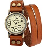 Ailisha Lady Women Korea Style Orange Long Bracelet Leather Strap Wrist Quartz Watch WAA390