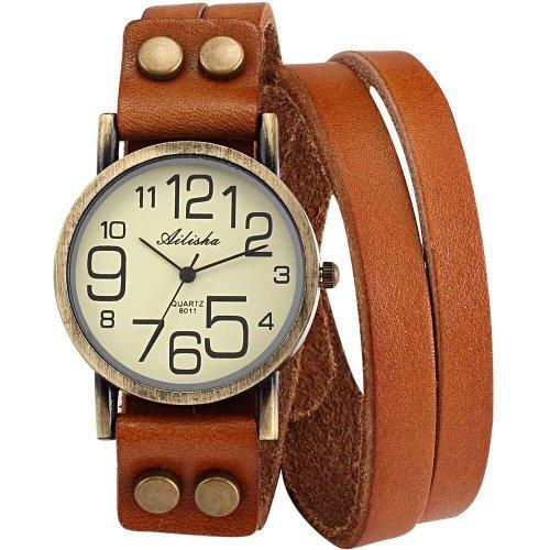 Ailisha Lady Women Korea Style Orange Long Bracelet Leather Strap Wrist Quartz Watch WAA390