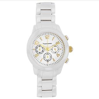 de4e5b067e Jouailla - Montre Yves Bertelin Dame chronographe céramique Blanche, dato,  Index doré (770158B