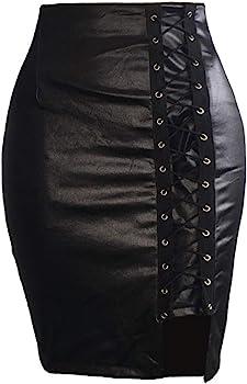 QIjinlok Falda de Cuero de Cintura Alta para muje Falda Tubo Mujer ...