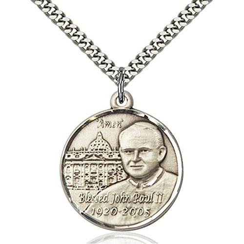 - Sterling Silver Men's POPE JOHN PAUL II / VATICAN Pendant - Includes 24 Inch Heavy Curb Chain - Deluxe Gift Box Included