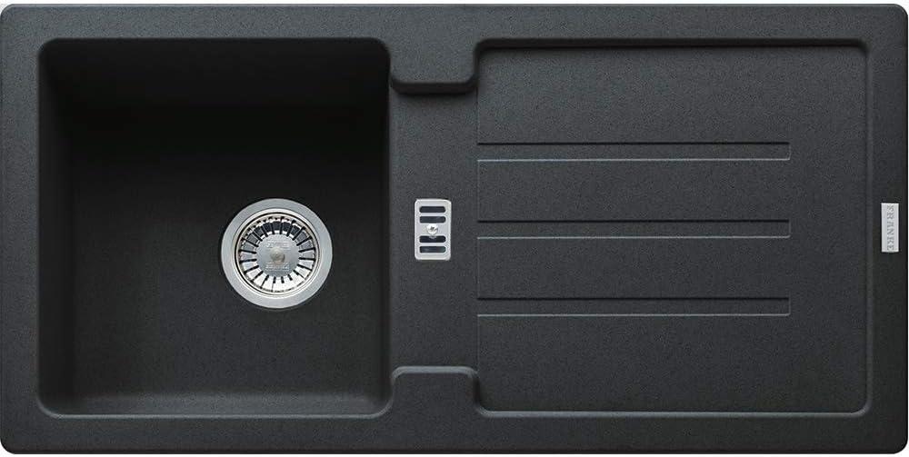 840 x 415 cm Auflagesp/üle Ausschnittsma/ß Franke Sp/üle STRATA STG 614 Onyx mit Stopfenventil