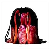 printing Drawstring Gift Bag Bright flamingos for Travel,Family,Dorm 12''W x 17.5''H