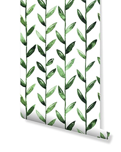 - Temporary Self Adhesive Removable Vinyl Wallpaper SAMPLE with Watercolor Green Leaves On White tropical flowers, great for Bedroom & Living Room wall decor Peel and stick application CC003 (6''x 10'')