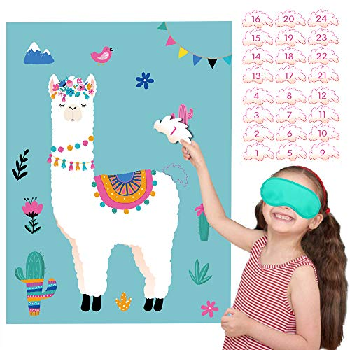 Happy Storm Pin the Tail on the Llama Fiesta Party Games Cactus Cinco de Mayo Birthday Party Supplies Llama Theme Party Favors for Kids]()