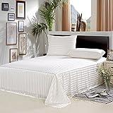 ALASKA BEAR - Mulberry Silk Flat Top Sheet, Seamless Bed Sheet, Hypoallergenic, Queen, Ivory Stripe