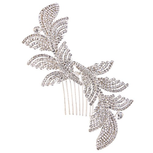 EVER FAITH Silver-Tone Austrian Crystal Gatsby Inspired Art Deco Wedding Hair Side Comb Clear (Art Deco Wedding)