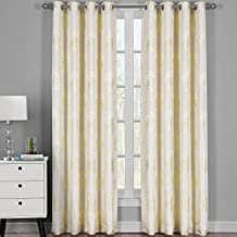 Lafayetee Light Yellow, Top Grommet Jacquard Window Curtain Panel, Set of 2 Panels, 108x108 Inches Pair, by Royal Hotel