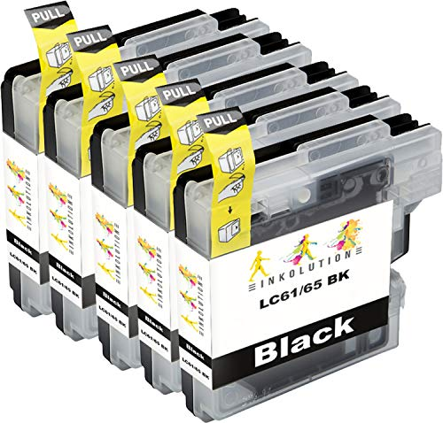 (Inkolution 5 Pack Black Compatible Replacement for Brother LC61 LC 61 Ink Cartridge for Printer Model MFC DCP-165C 385C 395CN 585CW J125 250C 255CW 290C 295CN 490CW)