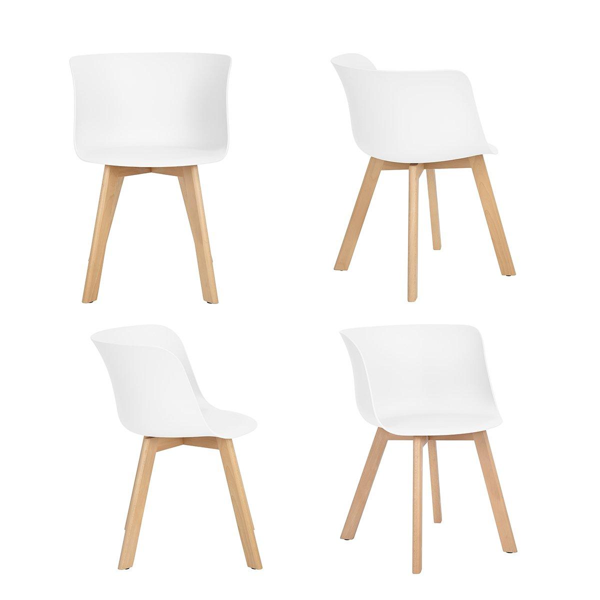 Ajie Chaises Design Scandinave - Lot de 4 Chaise de salle à manger avec accoudoirs - blanc