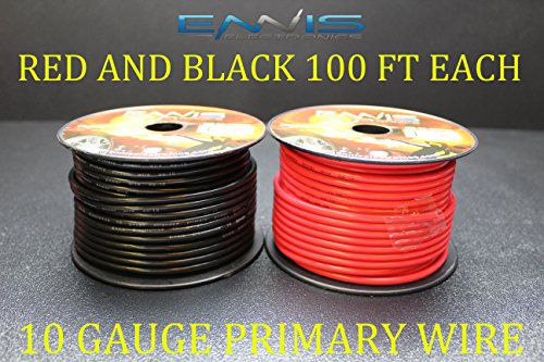 Primary Copper Wire - 10 GAUGE WIRE ENNIS ELECTRONICS 100 FT RED 100 FT BLACK PRIMARY REMOTE HOOK UP AWG COPPER CLAD