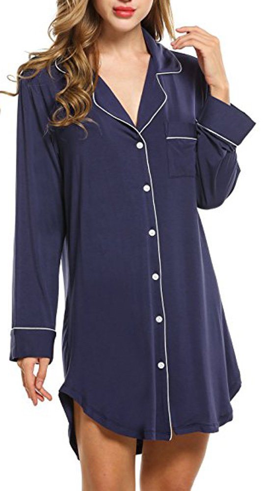 Trancylight Women Modal Casual Long Sleeve Boyfriend Style Nightshirts Sleepwear Tops (Blue, S)