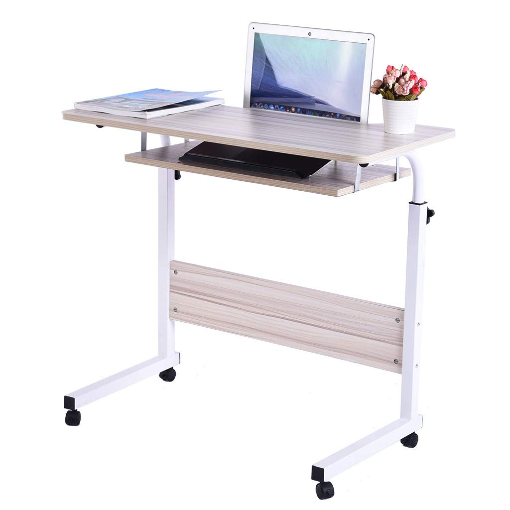 Simple Double Computer Tablets,Fangoog Household Height Adjustable Laptop Desk with Tray and Wheels, Writing Study Desk, TV Table Desktop for Home Office Desk, 31.5x15.7x27.5Inch (White)