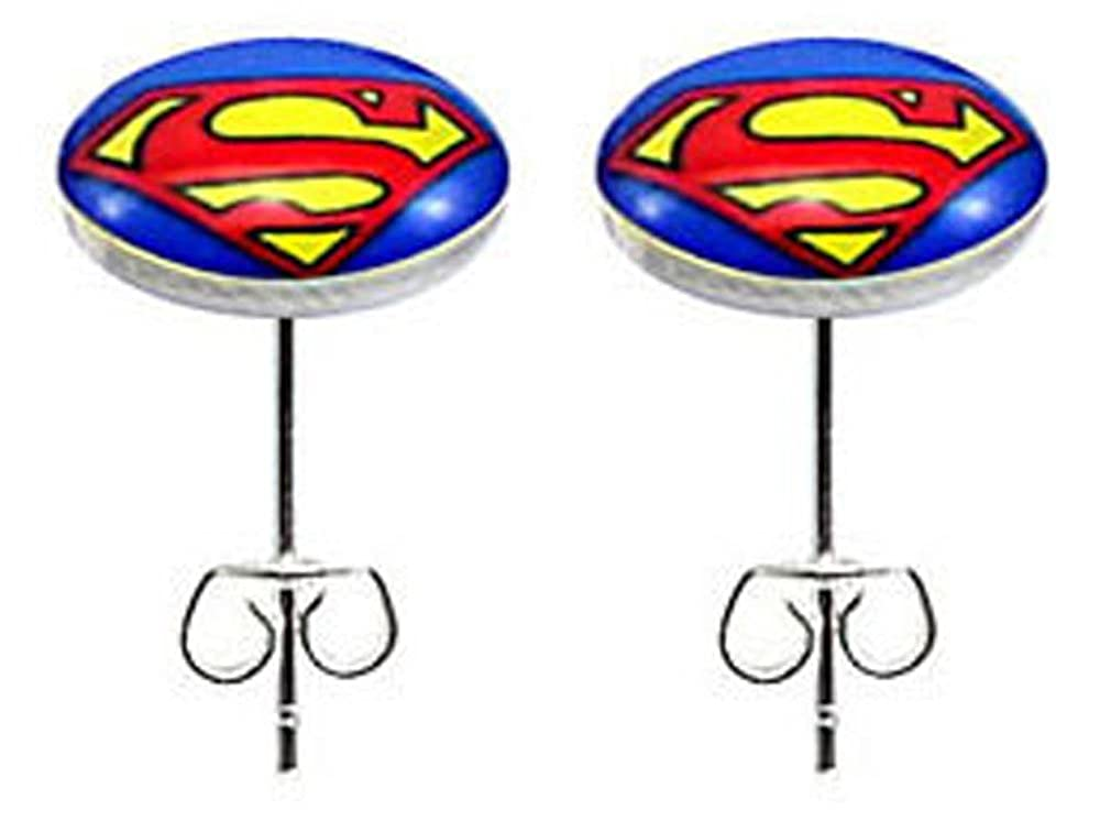 trending jewels Stainless Steel Fashion Stud Earrings Superman icon