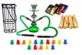 Zebra Smoke Series: 11'' 2 Hose Pumpkin Hookah with Cage- Complete Set- Combo KIT SET w/ Instant Charcoal (Like Three Kings Charcoal), Hydro Herbal Molasses(like Blue Mist), and Hookah Mouth Tips (Pick Your Color) (Green)