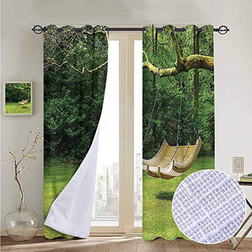 fengruiyanjing Draperies and Curtains Grommet Top for Living Room Bedroom, Garden, Curved Swing Bench on Tree 96