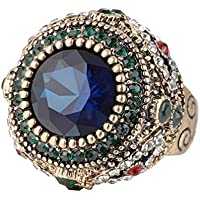 A.Yupha Turkish Style Gold-plated Green Crystal Sapphire Retro Alloy Female Ring 7#-10# (8)