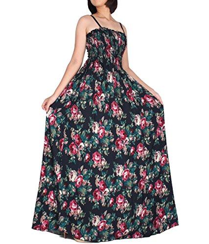 The WomenLand Women Maxi Long Plus Size Boho Strapy Summer Party Dresses Elegant Classic Floral Dress (2X) (Maxi Sale Dress)