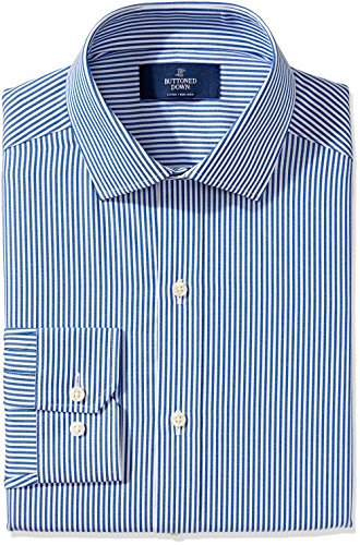 Mens Stripe Classic Shirt (BUTTONED DOWN Men's Fitted Spread-Collar Non-Iron Dress Shirt, Blue Bengal Stripe, 16.5