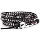 MOWOM Alloy Genuine Leather Bracelet Bangle Cuff Rope Bead 3 Wrap Adjustable
