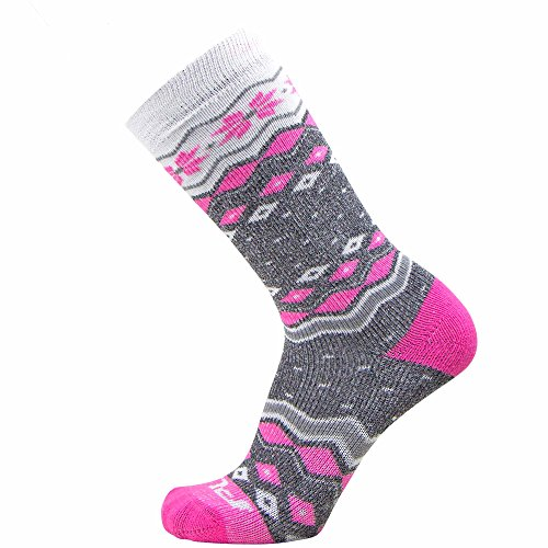 (Kids Ski Socks – Warm Skiing Sock for Boys and Girls - Snowboard Socks – Merino Wool, Wicking Midweight Snowflake Winter Socks - OTC (S/M, Grey/Hot Pink))