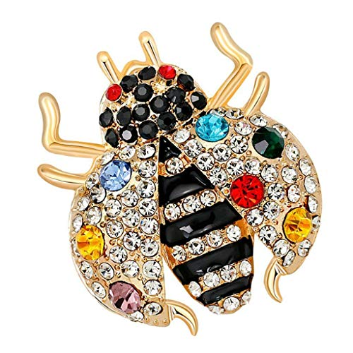 Ladybug Pin Brooch Black Enamel Rhinestone Animal Jewelry Charms Corsage | Color - Colorful (Spectacles Edwardian)