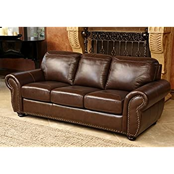 Amazon.Com: Abbyson Living Elm Top Grain Leather Sofa In Brown