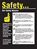 "Accuform Signs PST220 Safety Awareness Poster, ""SAFETY...OUR SAFETY MISSION"", 24"" Length x 18"" Width, Laminated Flexible Plastic"