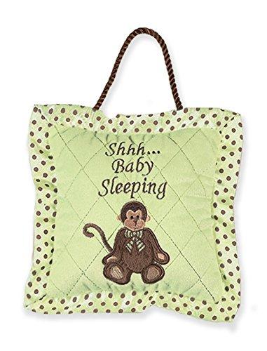 Bearington Little Giggles Monkey Baby Sleeping Green Door Pillow 7.5