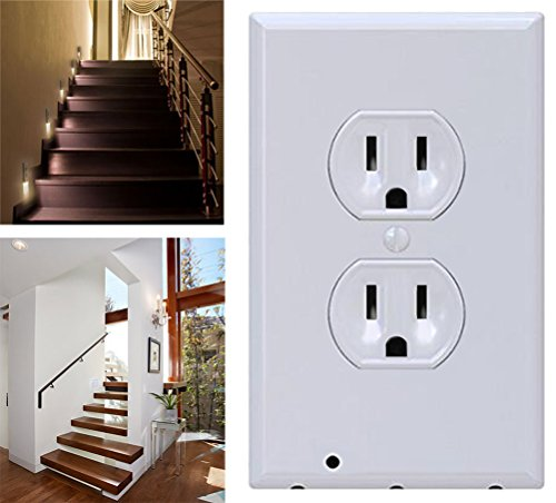 6 Pack Outlet Wall Plate With LED Night Lights - No Batteries Or Wires - Installs In Seconds - (Duplex, White) (6 Pack) by Hompr (Image #2)