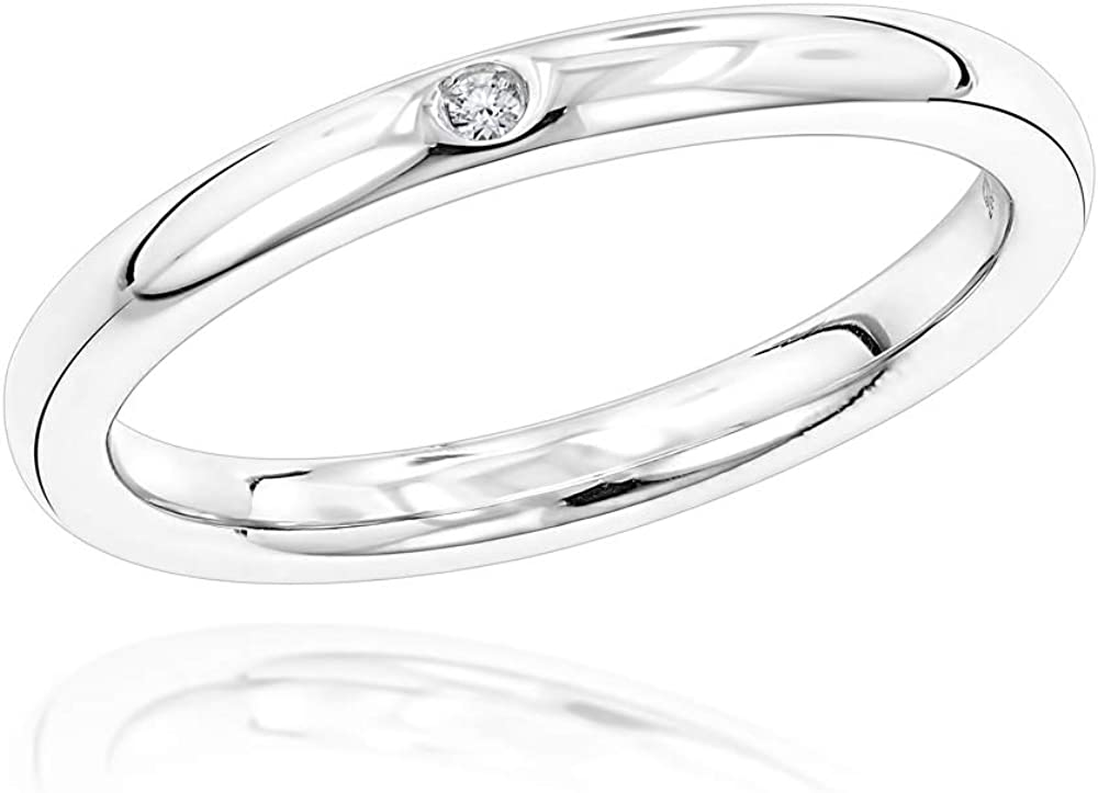 Luxurman Love Quotes Rings: Womens Stackable Sterling Silver Diamond Wedding Band