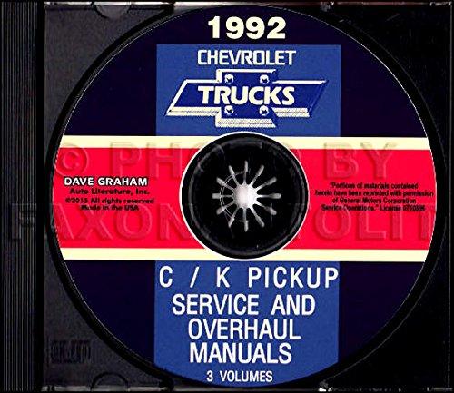 FULLY ILLUSTRATED 1992 CHEVROLET TRUCK & PICKUP FACTORY REPAIR SHOP & SERVICE MANUAL CD Includes C/K Trucks, Silverado, Cheyenne, Suburban, Blazer, Regular, Crew & Extended Cab 1500, 2500, 3500