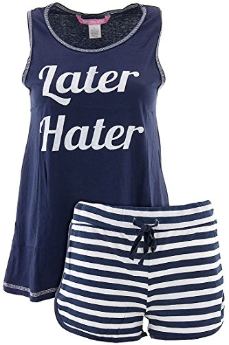 Love Loungewear Juniors Later Hater Blue Shorty Pajamas L