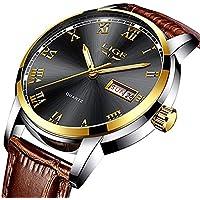 Mens Leather Strap Watches Men's Waterproof Business Casual Date Quartz Wrist Watch Black Dial