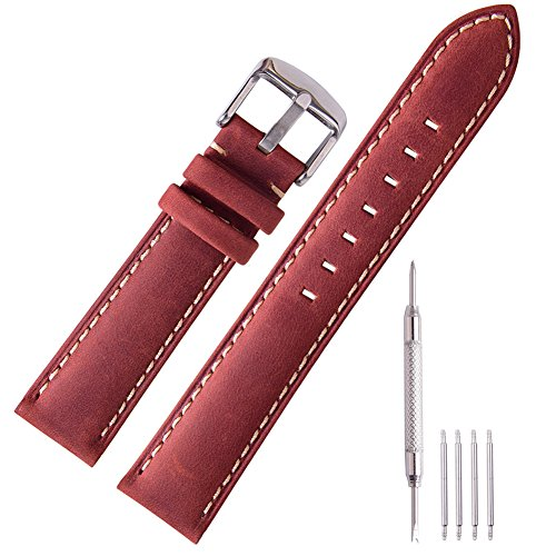 Ritche Genuine Leather Watch Bands Strap Replacement 16mm 18mm 20mm 22mm 24mm for Men and Women