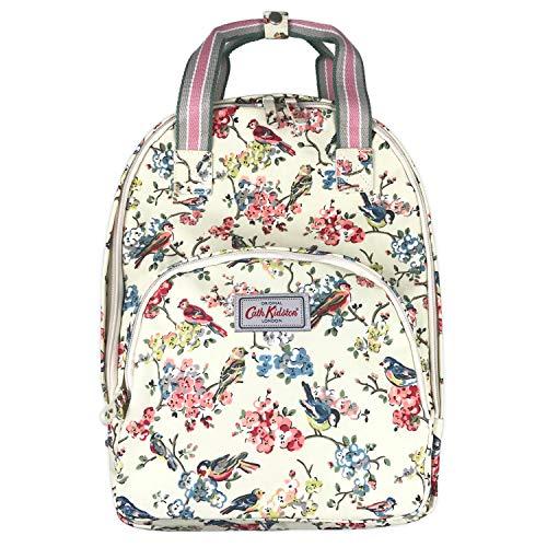 Birds Kidston Cath - Cath Kidston Matt Oilcloth Multi Pocket Backpack Rucksack Blossom Birds Colour Cream 16SS