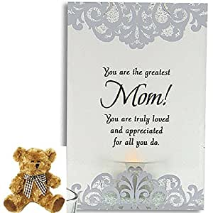 Illuminated Glass Plaque for Mothers Day - Perfect Gift Set for Mom from Daughter or Son for Birthday Christmas Thank You Christian - Plaque and Teddy Bear