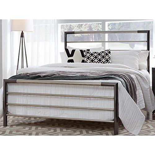 Kenton Metal Bed with Horizontal Bar Design, Chrome and Black Nickel Finish, King - Nickel Finish Metal Headboard