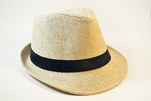 Fedora Straw Hat (Solid Band Summer Straw Fedora - Khaki Black W20S58B (Large))