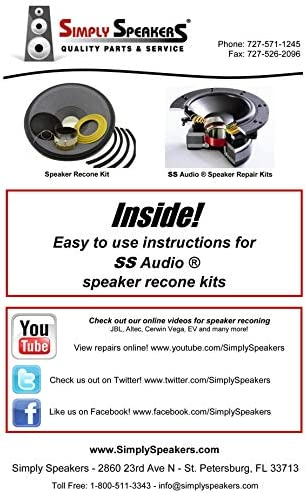 """SS Audio Speaker Repair Recone Kit for JBL 2226G 15/"""" Subwoofer Bass Woofer 4 Ohm"""