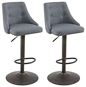 Worldwide Homefurnishings Inc. 43.75 in. Extra Tall Bar Stools in Gray - Set of 2