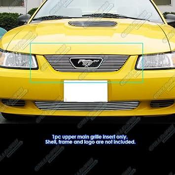 APS Compatible with 1999-2004 Ford Mustang V6 V8 GT Black Main Upper Billet Grille Insert F86009H