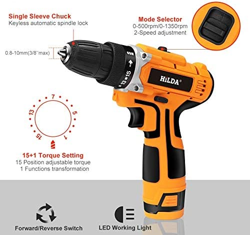 Luoshan HILDA 16.8V Electric Drill with Lithium Battery Rechargeable 12V Two-Speed ​​Electric Cordless Screwdriver(Orange) (Color : Orange) Orange